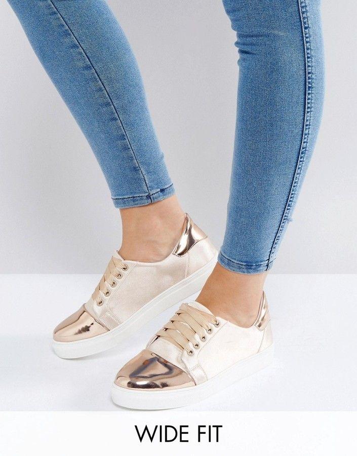 297a9c5c7e8 Lost Ink Wide Fit Paige Nude Satin Plimsolls · Pink Ballet ShoesSatin ShoesPink  SneakersCanvas SneakersMetallic ...