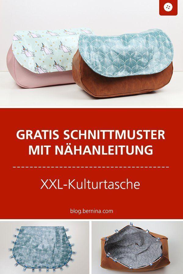 Anleitung für eine XXL-Kulturtasche mit Schnittmuster » BERNINA Blog – Taschen