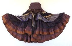 Steampunk Boho Gypsy Belly Dance Costume Vintage Silk Tiered Skirt Purple