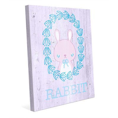 Click Wall Art 'Rabbit Wreath - Pastel' Graphic Art on Wrapped Canvas Size: