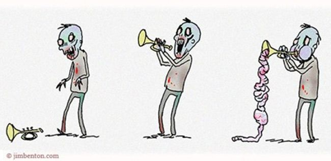 El trompetista zombie.