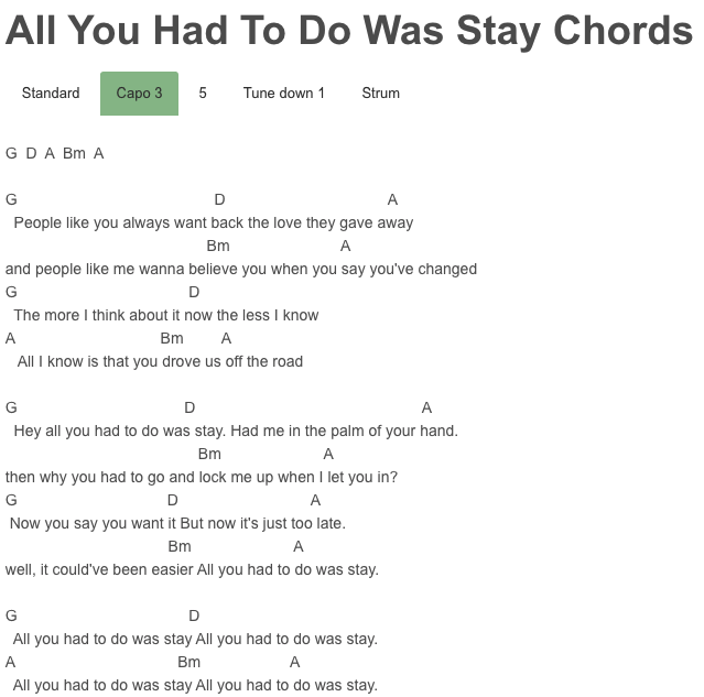 All You Had To Do Was Stay Chords Taylor Swift Guitar Pinterest