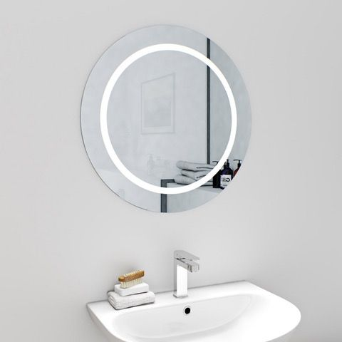 Mode Shine Round Led Illuminated Mirror 600 X 600mm With Demister Mirror Led Mirror Bathroom Design Decor