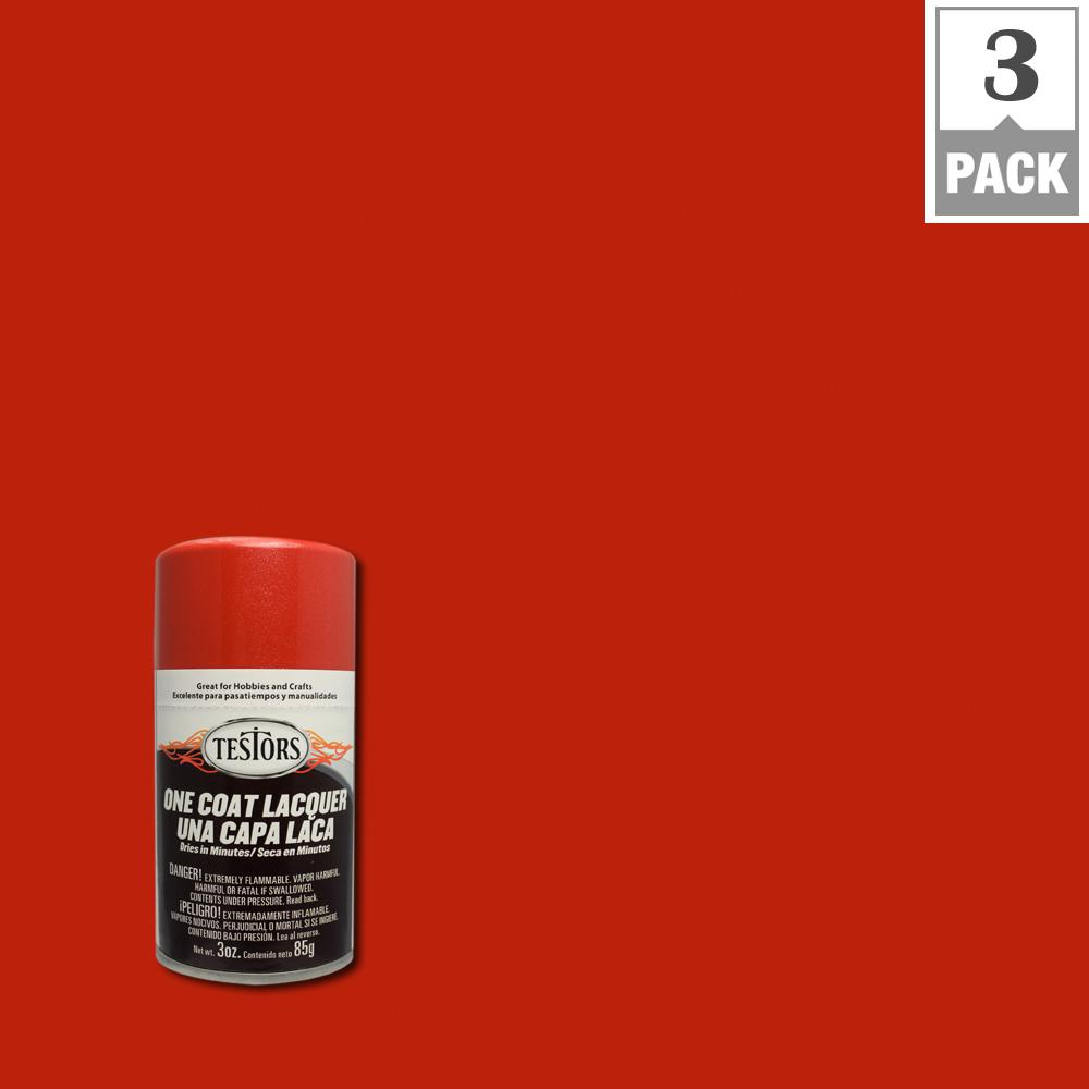 Testors 3 oz  Revving Red Lacquer Spray Paint (3-Pack