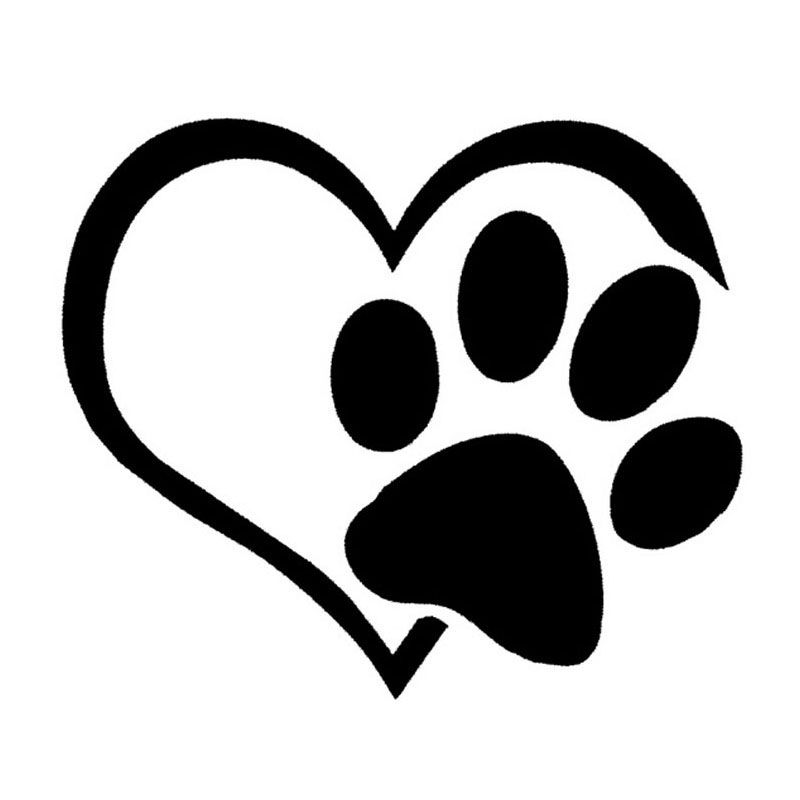 Puppy Love Car Truck Breed Memory Dog Paw Print Heart Decal Sticker