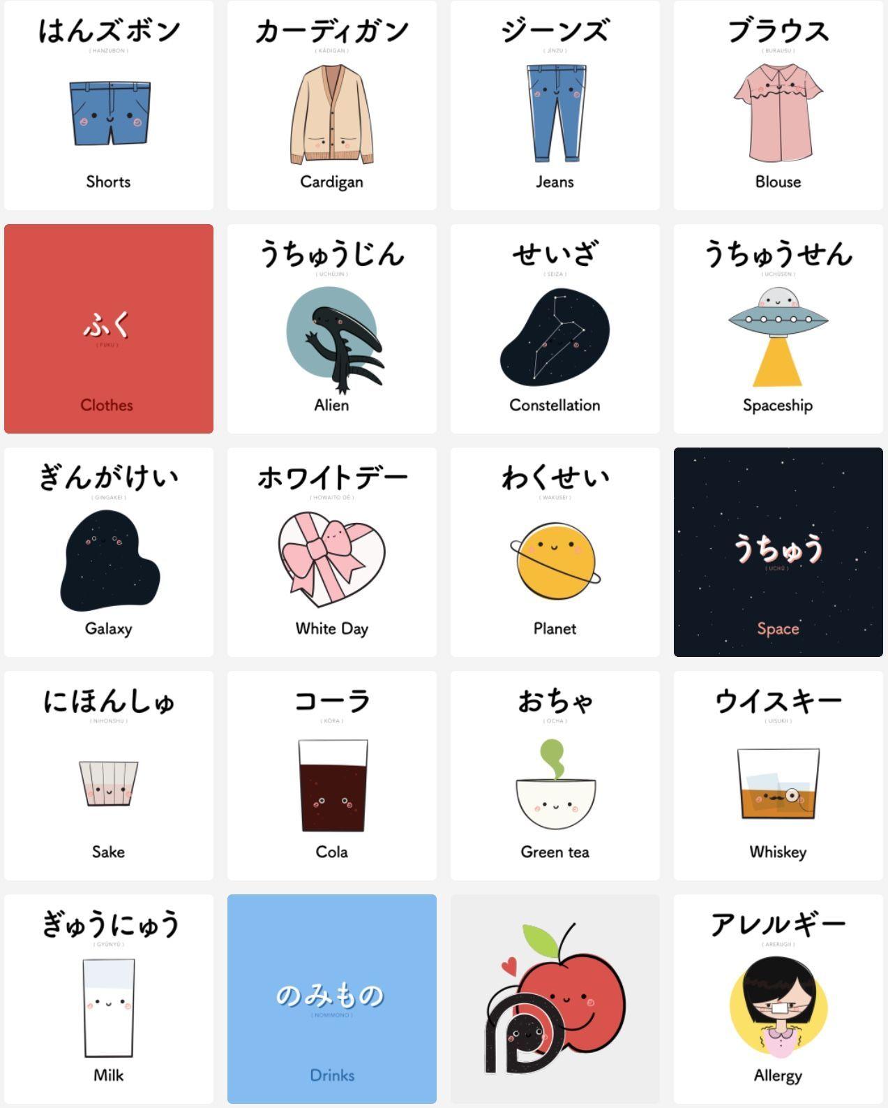Pin by Shelley Sorek on Japanese flash cards Basic
