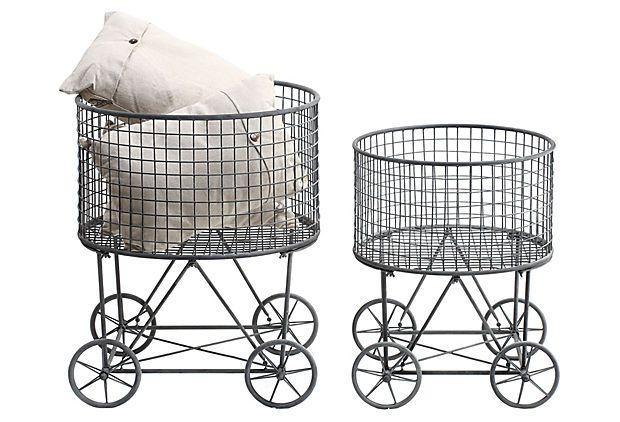 Asst Of 2 Laundry Baskets W Wheels Laundry Basket On Wheels
