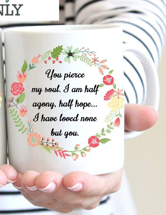 Jane Austen Mug Floral Literary Persuasion Quote Captain