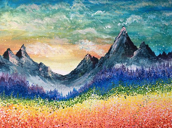 Rainbow Landscape Painting Dot Painting Original Products