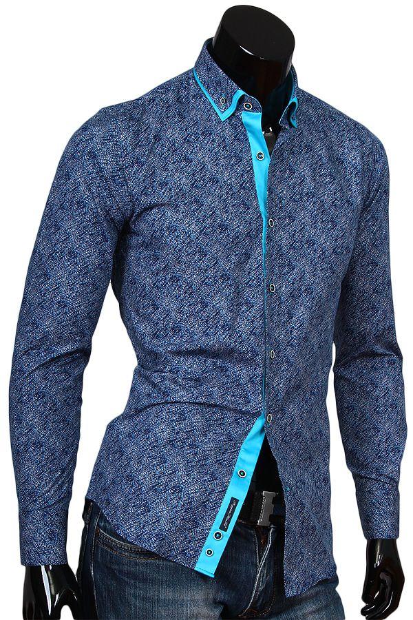 dd6427d72b8 Купить Мужская рубашка с двойным комбинированным воротником фото недорого в  Москве