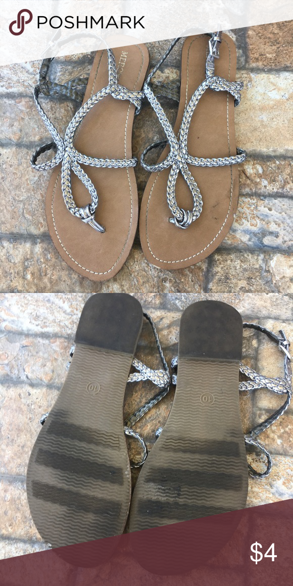 9649b511b2ec33 Size 10 silver braided sandal Silver braided sandals in size 10. ✮ Condition   Preloved