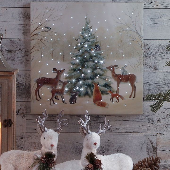 3739426 RAZ 18 Woodland Friends Christmas Tree Lighted Canvas Painting Picture