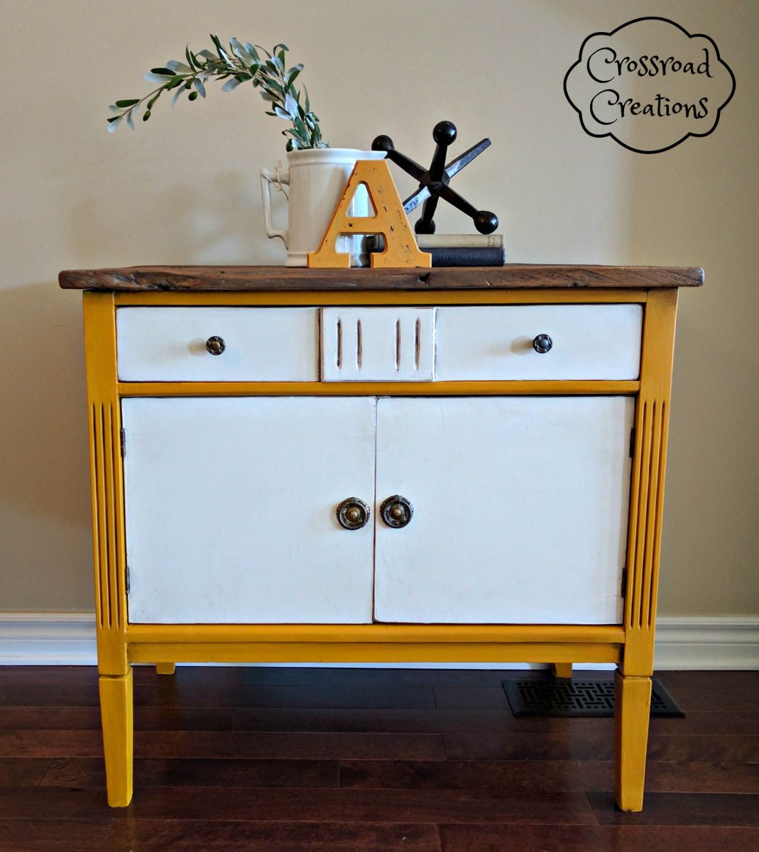 This fabulous washstand was given a modern flare by Andrea from Crossroad Creations with Vanilla Frosting, Fresh Mustard, and both Natural and Antiquing Wax!