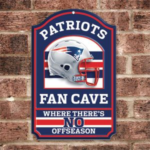 "Product # HC5726 - NFL FAN CAVE SIGN welcomes visitors to your football-viewing domain! Proclaim your loyalty and deck out your den, basement, family room or sports shrine with this colorful wall sign featuring your favorite team's helmet and logo. Has pre-drilled hole for hanging. Pressed-wood board construction. 17"" H x 11"" W. Made in USA.  $29.98"