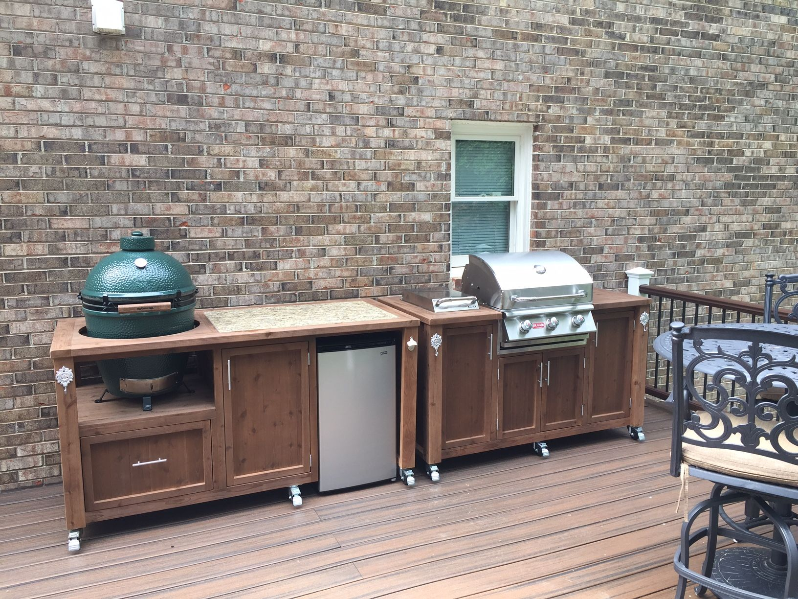 Dual Grill Chill Kitchen For Big Green Egg Bull Gas Grill Mini Fridge We Customize Outdoor Kitchen Grill Big Green Egg Outdoor Kitchen Outdoor Kitchen