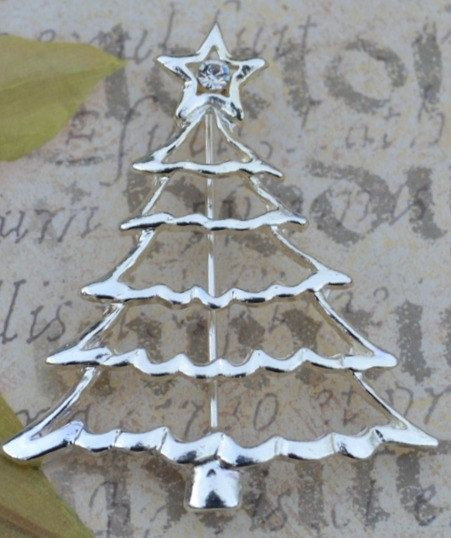 Vintage Silver Tone Christmas Tree Brooch by KrisVintageClothing, $10.00