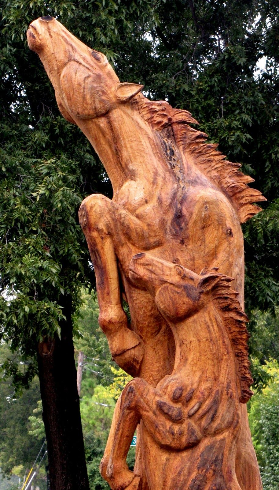 Tulsa gentleman chainsaw carving wild horses jackie abels