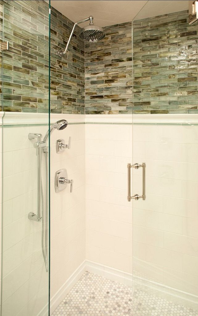 I love this shower layout with subway tile, glass mosaic, handmade ...