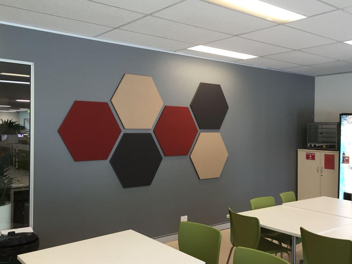 office pinboard. Hexagonal Designer Pinboards For Office Break Out Area. Pinboard