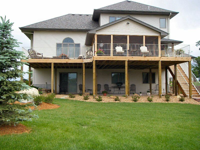 Walkout basement deck new single family homes and for Walkout basement backyard ideas