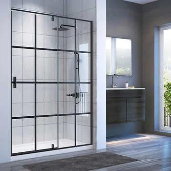 Appollo Gaia 60 in. Matte Black Linear Shower with Pivot