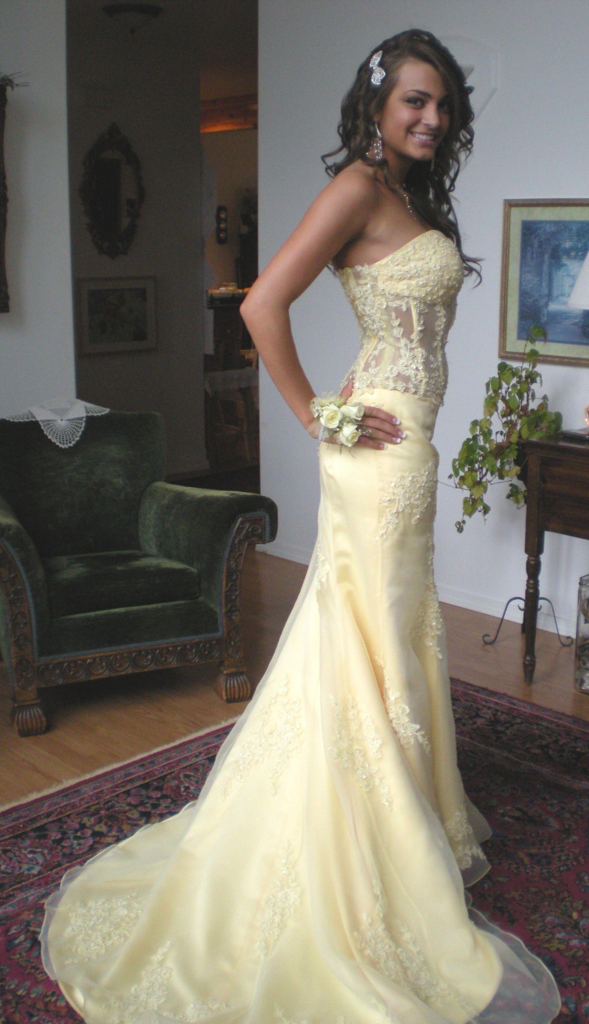 Yellow Prom Dresses | Strapless prom dresses, Mermaid prom ...