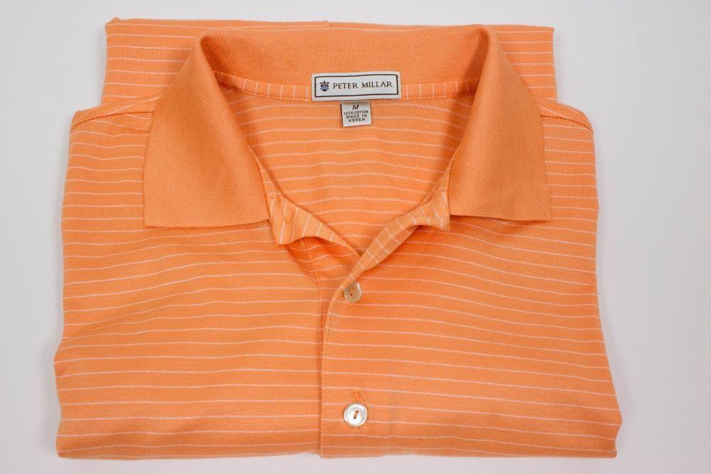 Peter Millar Mens M Medium Orange White Stripe Polo Golf