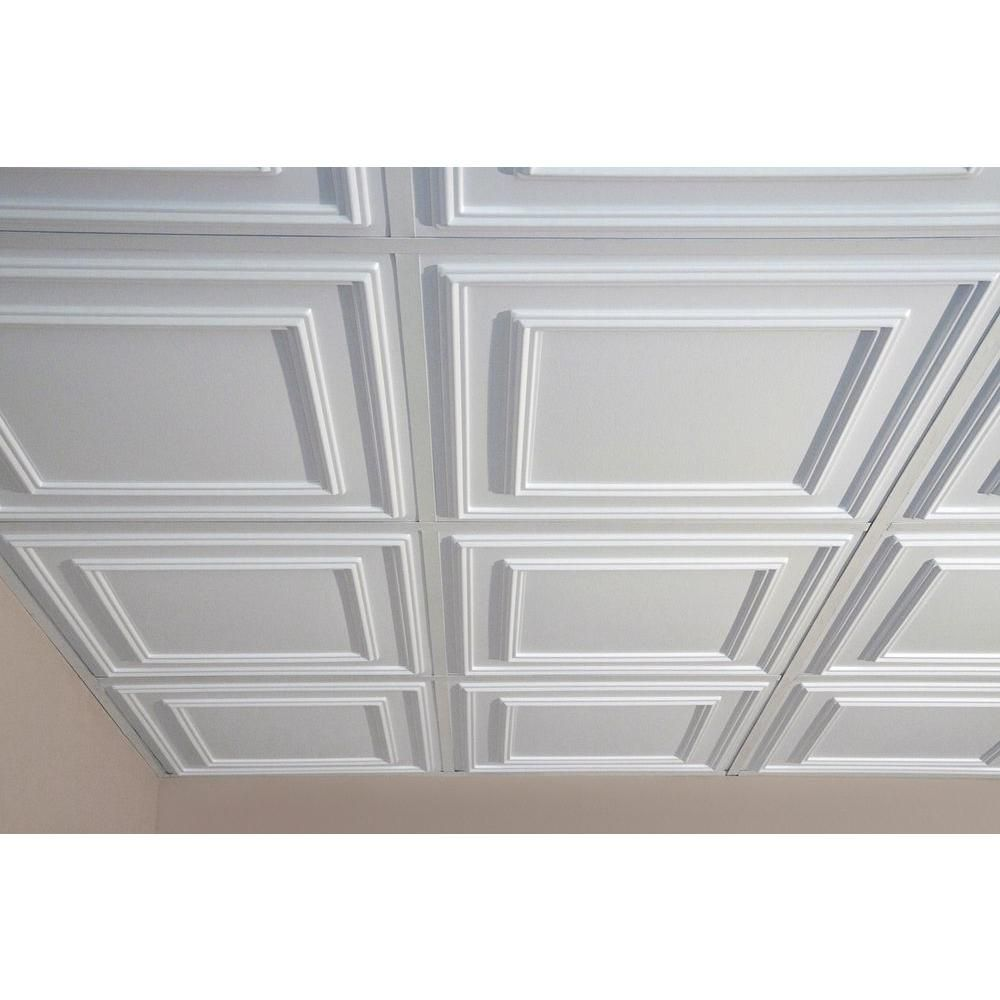 Ceiling Tiles Ceilume Cambridge White 2 Ft X 2 Ft Lay In Or Glue Up Ceiling Panel Case Of 6 V3 Cam Drop Ceiling Tiles Ceiling Panels Basement Renovations