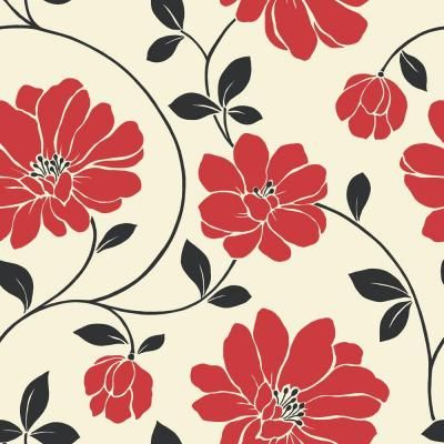 The Wallpaper Company 56 Sq Red Black And Cream Large Scale Modern Fl Model At Home Depot