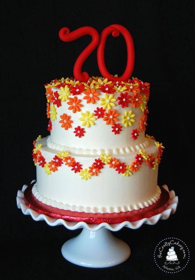 Daisy Themed 70th Birthday Cake Buttercream Iced With Fondant Flowers And Topper