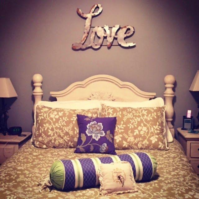 "Master Bedroom Comforter: Belk; Bed: cherry wood hand-me-down we antiqued; ""Love"" Galvanized Metal sign: local antique market #homedecor #hometour #masterbedroom"