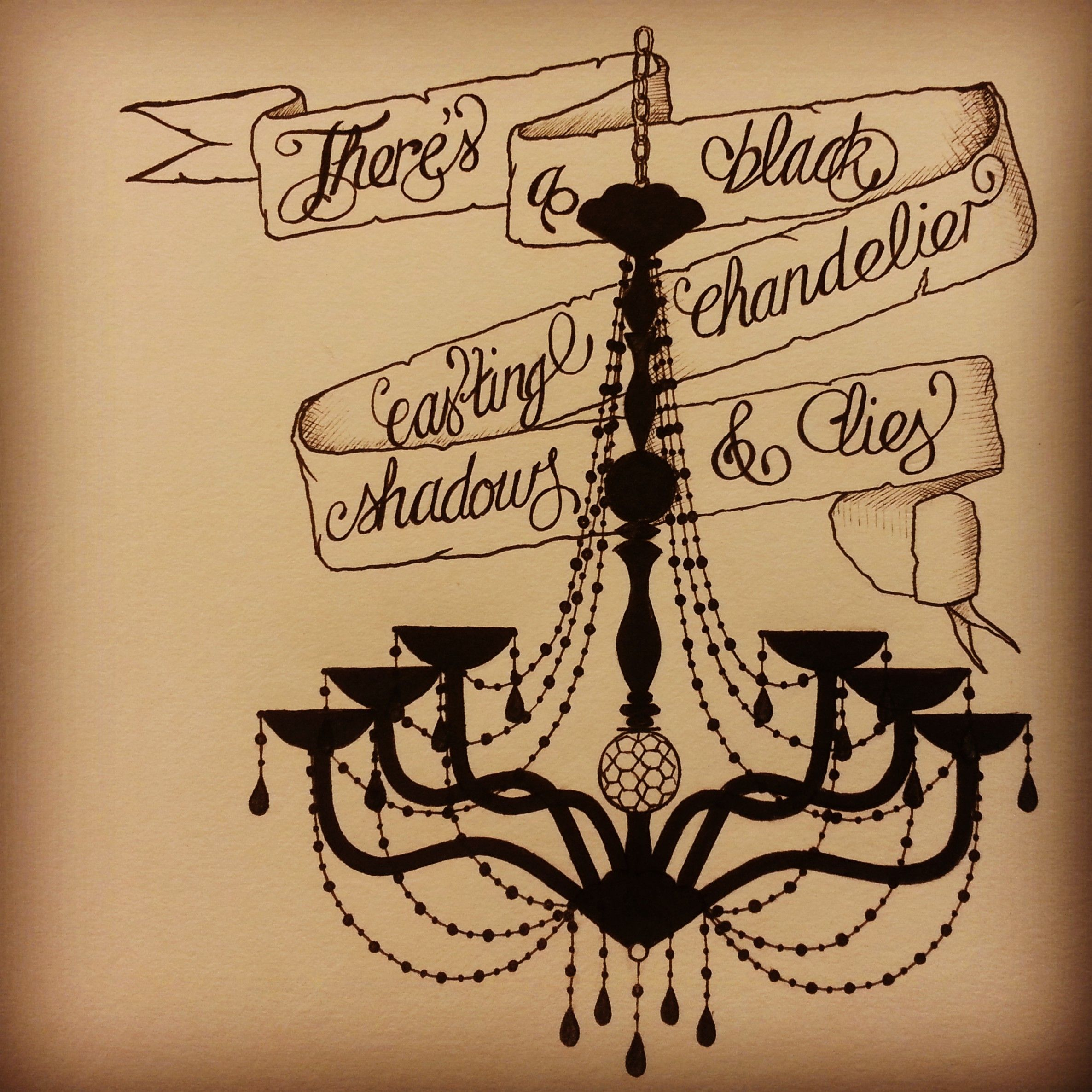 "Biffy Clyro ""Black Chandelier"" inspired tattoo style artwork Art"