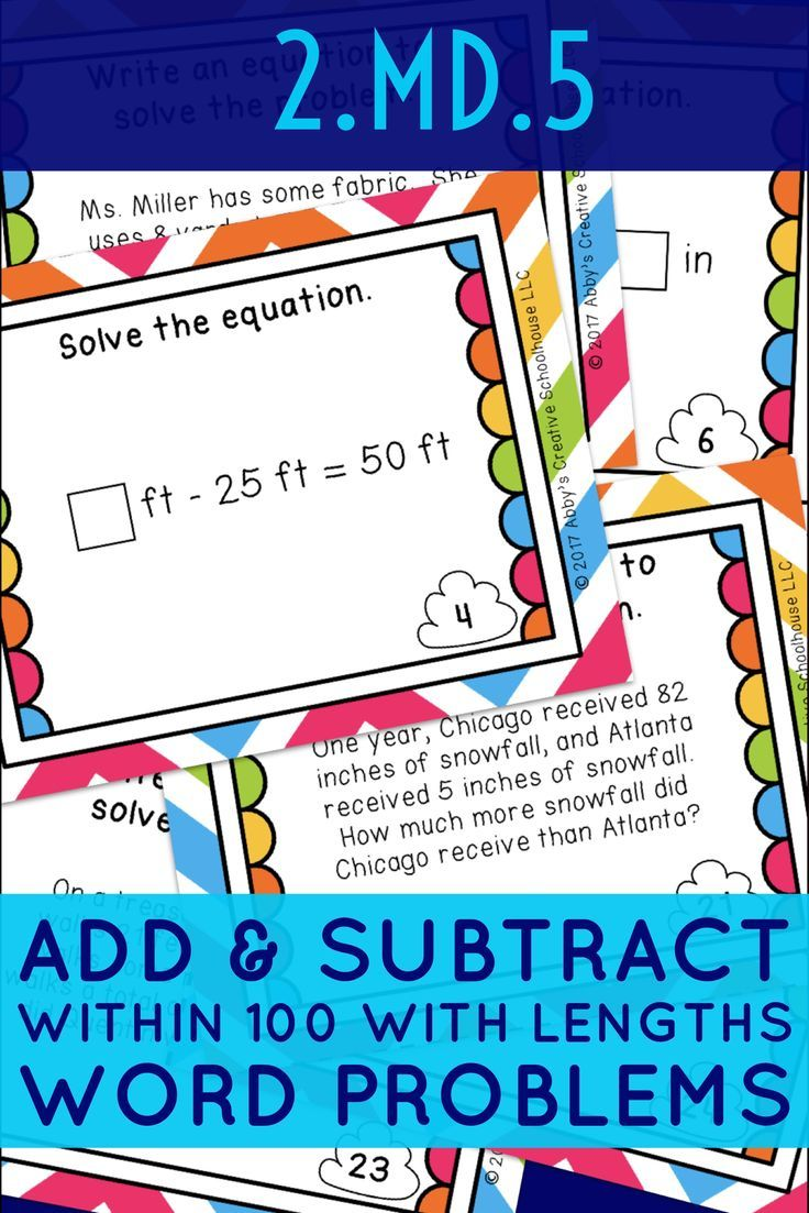 Students Can Practice Common Core Standard 2 Md 5 With These Math Task Cards Each Card Has A Word Problems Word Problems Task Cards Subtraction Word Problems Common core adding and subtracting