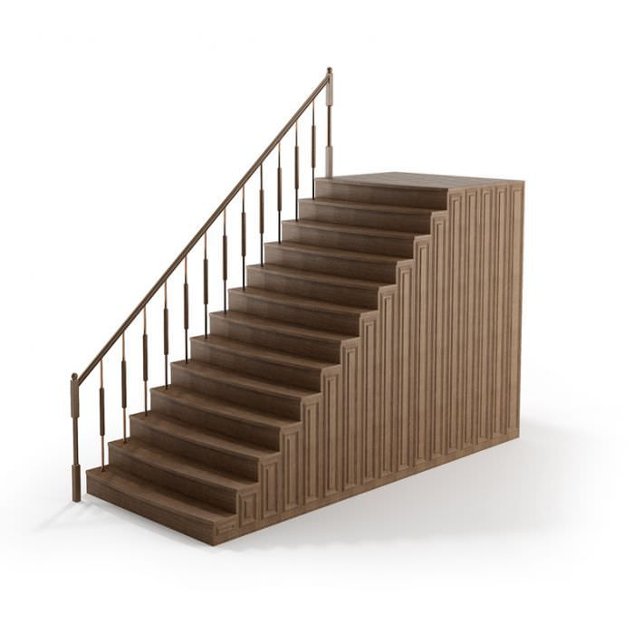 Best Wooden Stairs Railings 137 Am79 3D Model Wooden Stairs 400 x 300