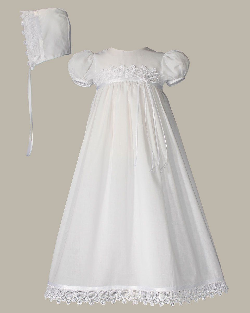 White Daisy Embroidered Cotton Christening Baptism Gown