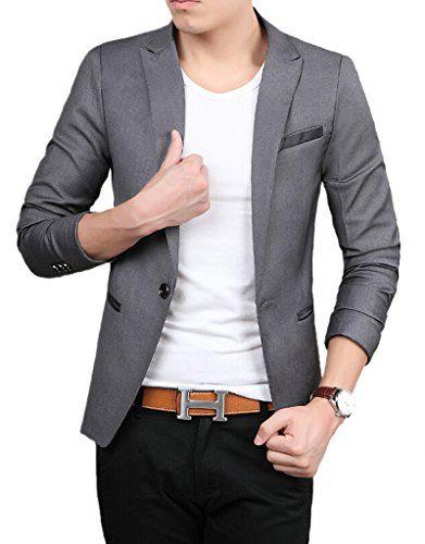 d7d8f242dc9 TM Mens Slim Fit Stylish Casual One Button Suit Jacket Blazers L Gray  givemefive-men