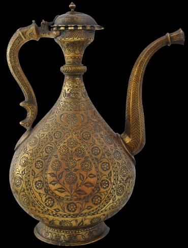 Islamic Mughal Art & Antiques from India - Michael BackmanLtd  Brass Ewer (Aftaba) Engraved with Poppies & Carnations In-filled with Black Lac Mughal, North India circa 1800 Inventory no.: 1442