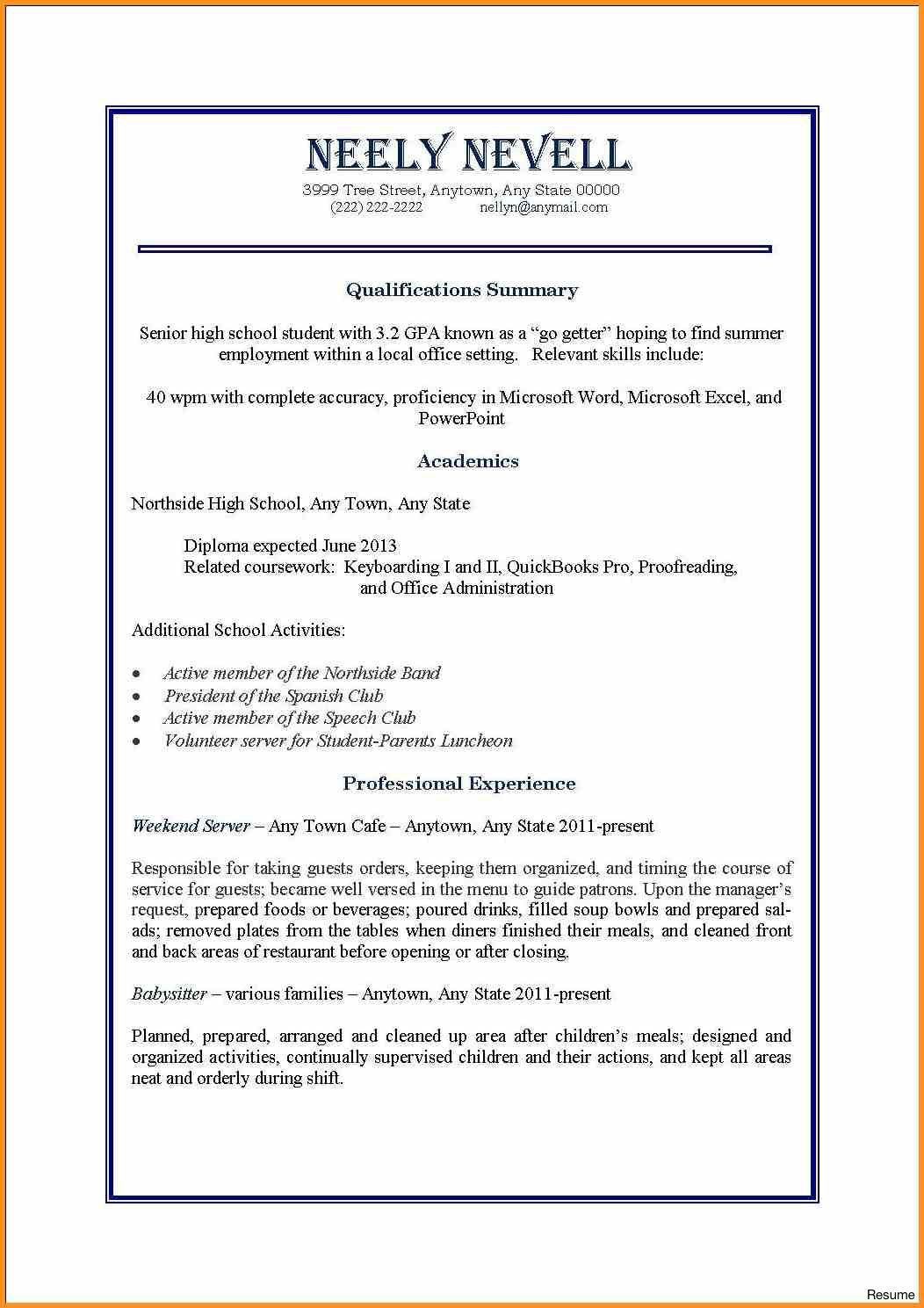 First Job Resume Examples Sarahepps Com With First Time