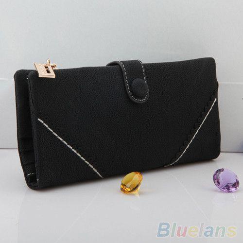 Women Rivet Zipper Wallet Holder Card Coin Clutch Purse Wristlet Evening Bag 1QDC 4OQE