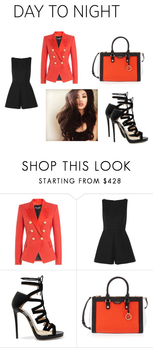 """Untitled #53"" by bella105 ❤ liked on Polyvore featuring Balmain, Alexander McQueen, Jimmy Choo, Henri Bendel, DayToNight and romper"