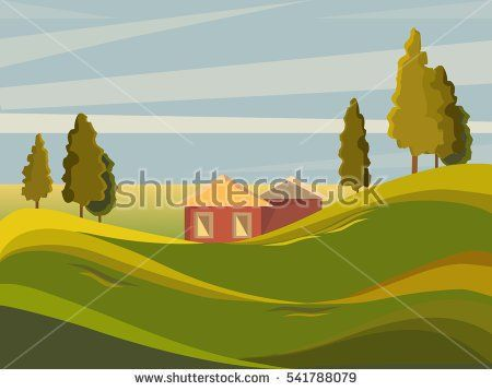 Summer landscape. Rural landscape on the background of meadows. Trees stand on a hill. It's a nasty day. Cartoon.