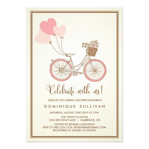 Vintage pink bicycle bridal shower invitation vintage pink shower vintage pink bicycle bridal shower invitation filmwisefo