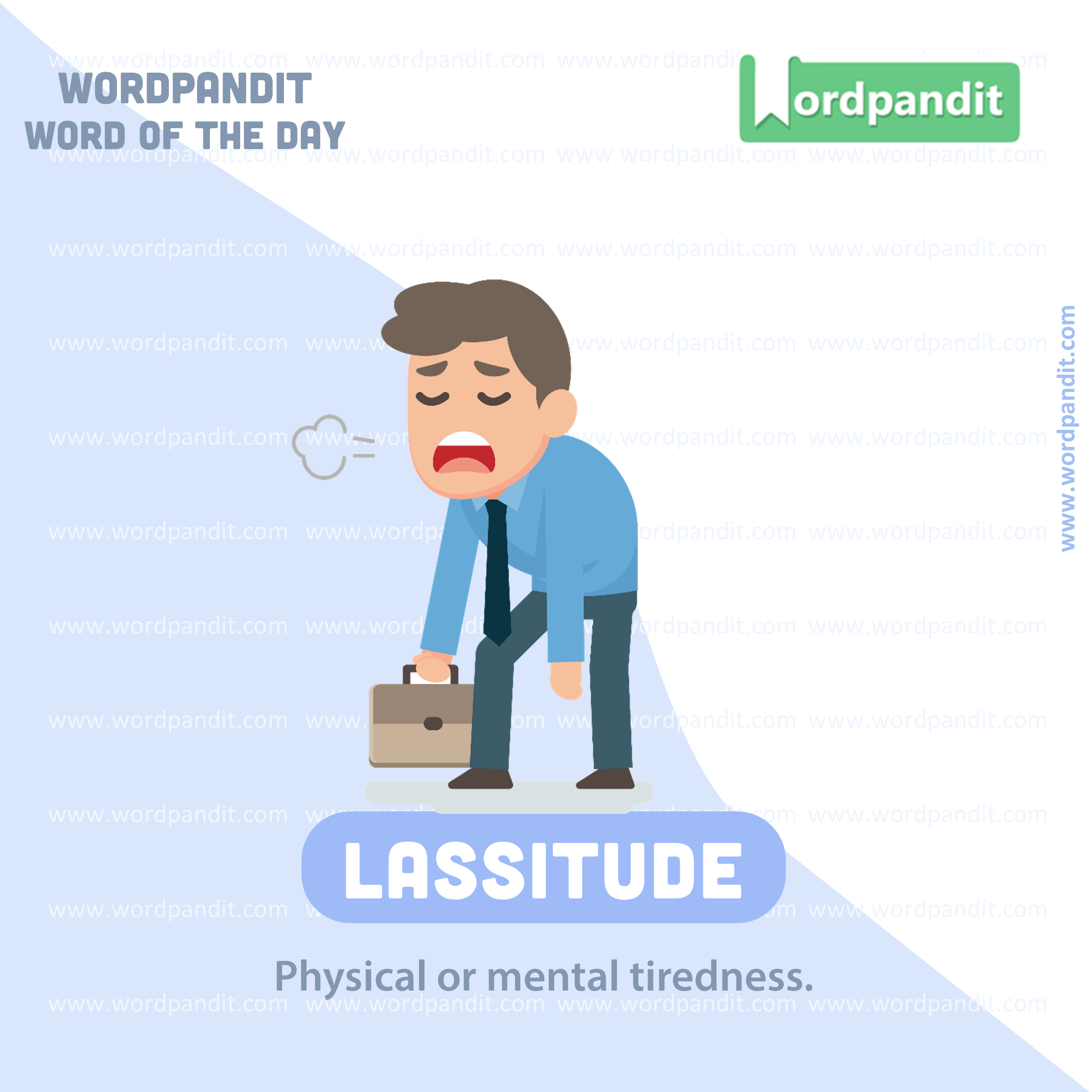 Word Of The Day Lassitude Sentence Example 1 After The Long Race Jay Experienced A Feeling Of La English Vocabulary Words English Vocab Sentence Examples