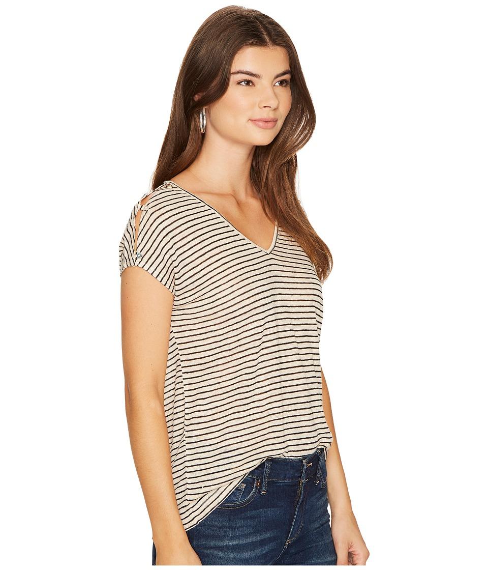 585227a10d15fc Lucky Brand Linen Stripe Tee Women s T Shirt Natural Stripe