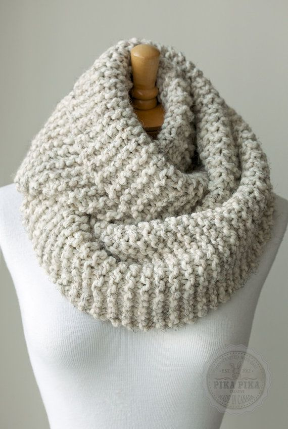 Knit Scarf Chunky Knit Infinity Scarf In Pale Brown Or Beige Hand