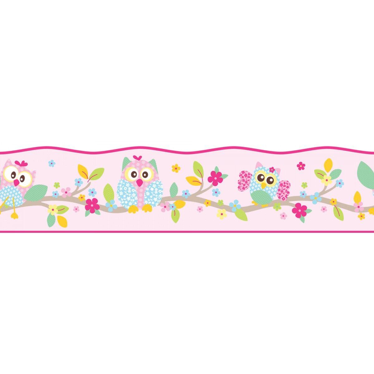 Patchwork Owl Wallpaper Self Adhesive Border 5m
