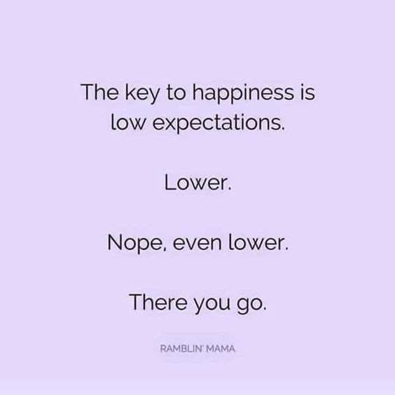 The Key To Happiness Is Low Expectations Lower Nope Even Lower There You Go Funniest Quotes Ever Aggressive Quotes Funny Quotes