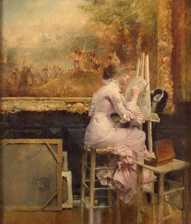 Watercolourist-in-the-Louvre by Pascal Dagnan-Bouveret (1852-1929)