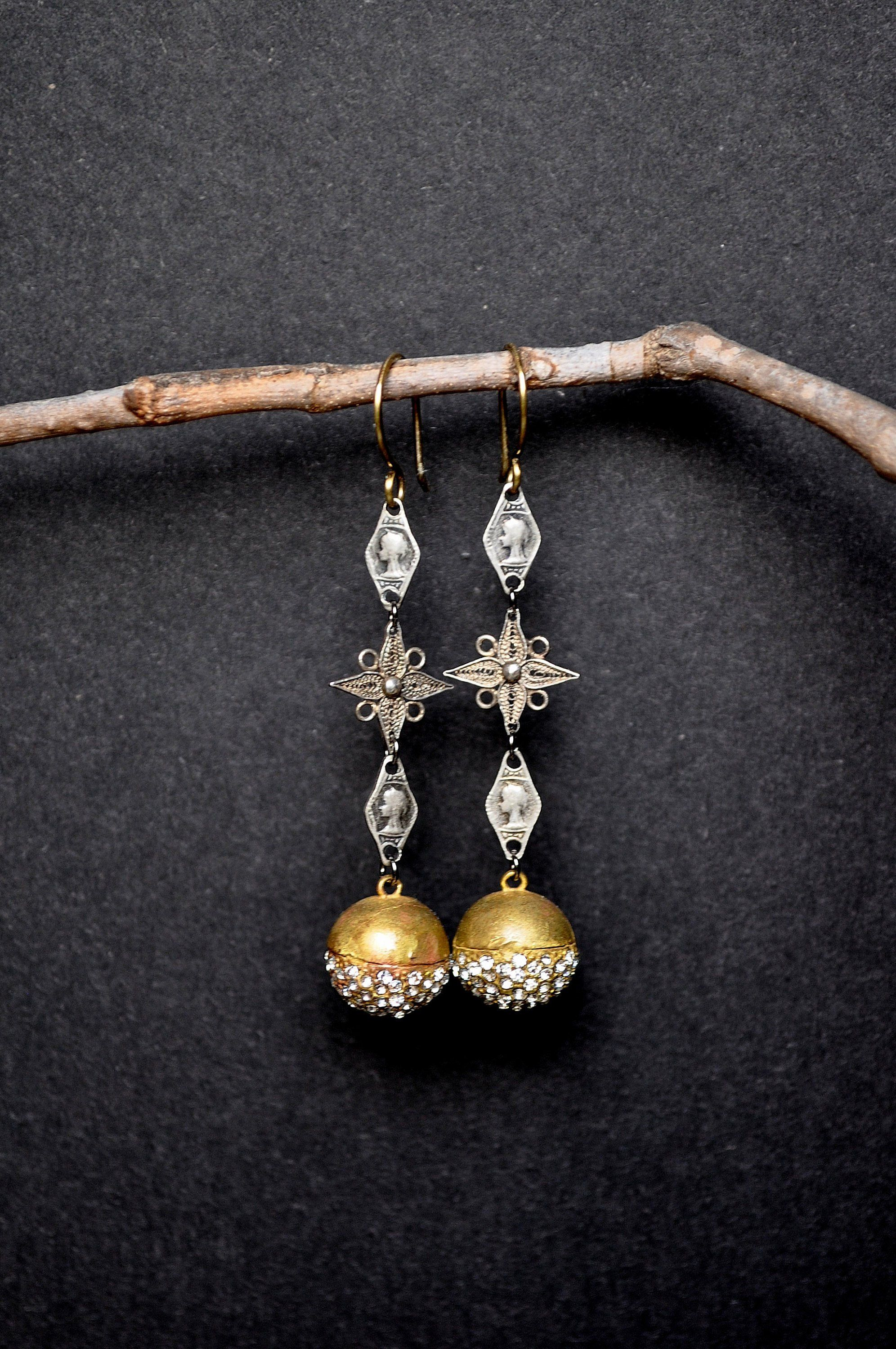 f1ebcad71 Vintage French Rosary Earrings. Repurposed Golden Ball Earrings. Assemblage  Earrings By Hallowed Adornments.