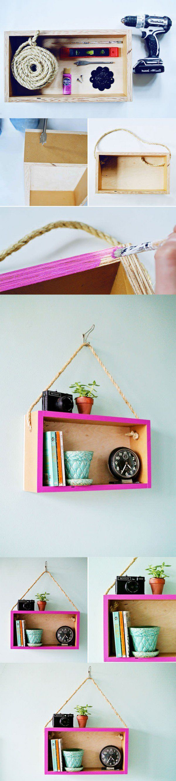 DIY: Upcycled Wooden Box Into Hanging Shelf Do-It-Yourself Ideas